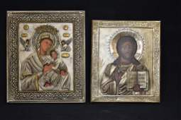 2 RUSSIAN ICONS OF CHRIST  THE HOLY MOTHER