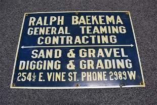 SAND & GRAVEL PORCELAIN TRUCK SIGN