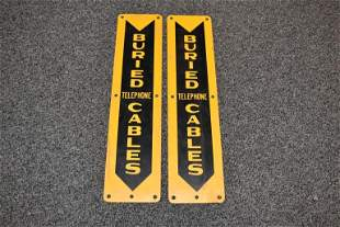 2 TIN BURIED CABLE SIGNS