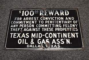 TEXAS OIL & GAS S.S.P. REWARD SIGN