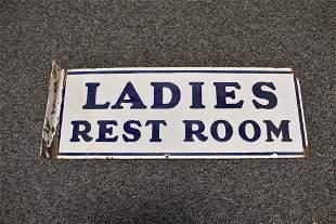 LADIES RESTROOM PORCELAIN FLANGE SIGN