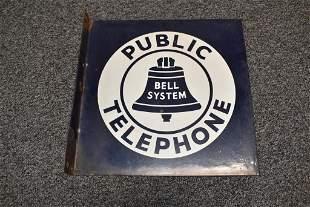 BELL TELEPHONE PORCELAIN FLANGE SIGN