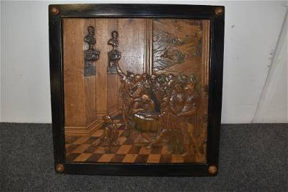 19TH CENTURY HIGHLY CARVED & INLAID GAME BOARD