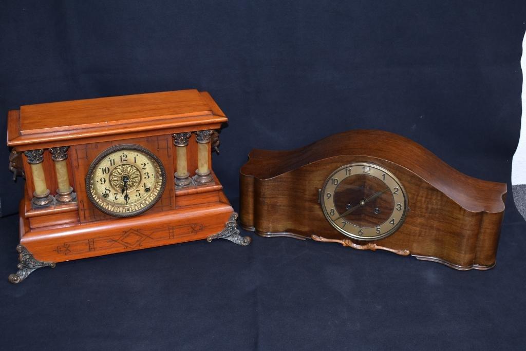 2 MANTLE CLOCKS (SETH THOMAS & GERMAN)