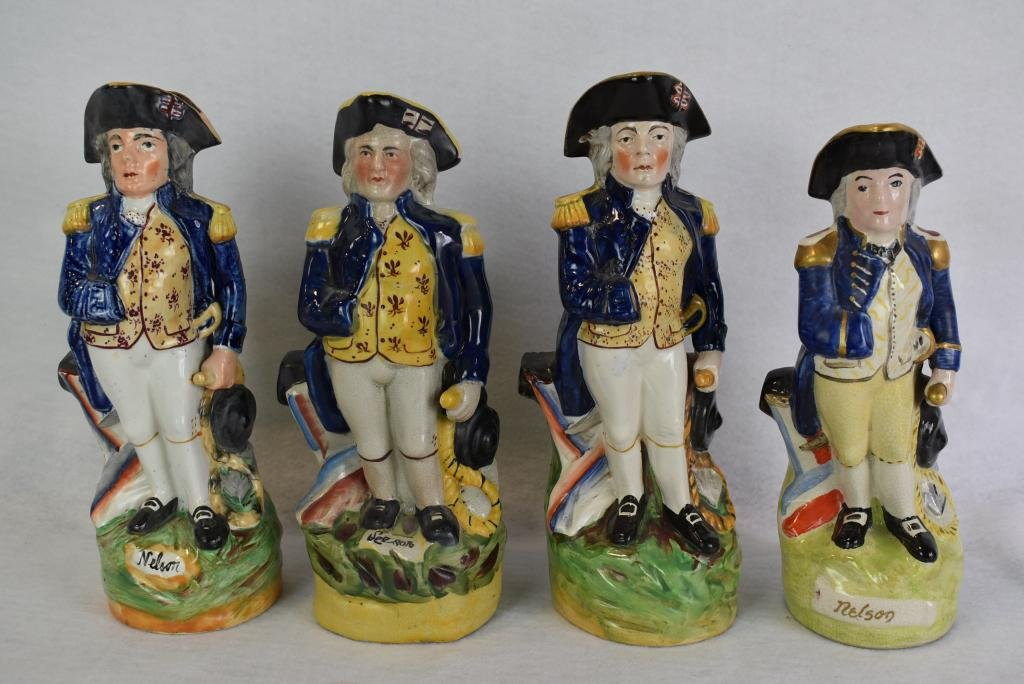 4 19TH C. STAFFORDSHIRE LORD NELSON TOBY JUG