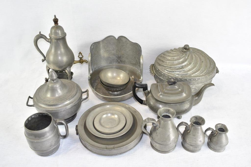 LG. LOT OF 19TH C. PEWTER