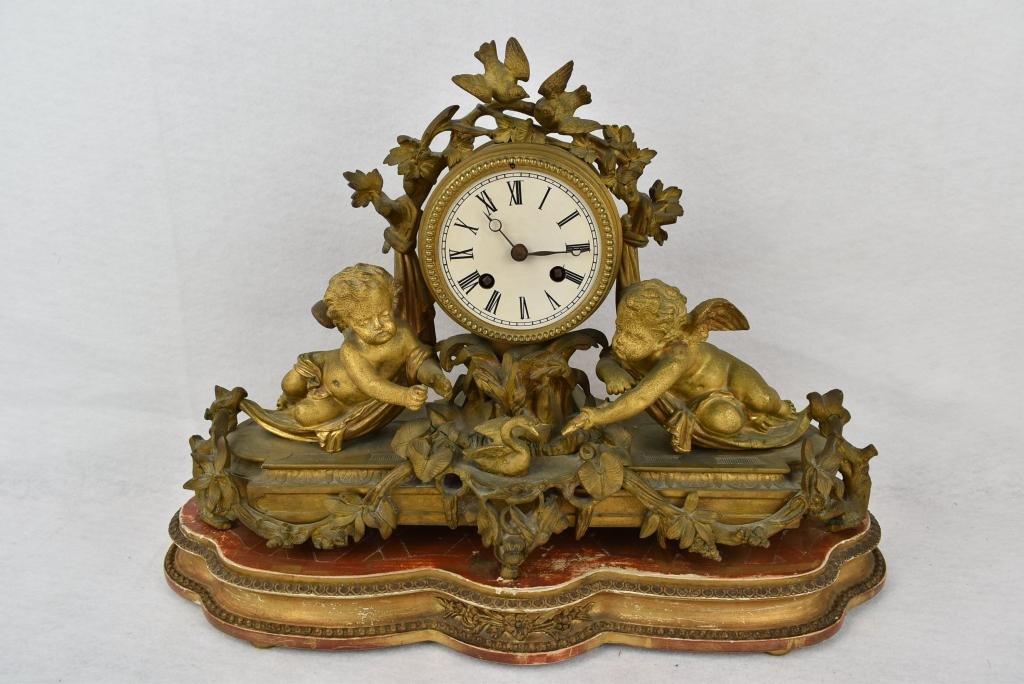 FRENCH BRONZE MANTLE CLOCK W/ WINGED CHERUBS