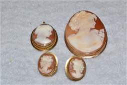 LOT OF 14 KT. & 18 KT. GOLD CAMEO JEWELRY