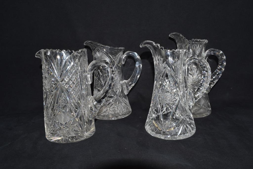 GROUP OF 4 AMERICAN BRILLIANT CUT GLASS PITCHERS