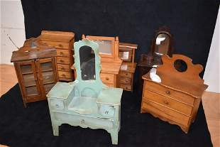 LOT OF 8 DOLL DRESSERS