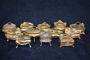 12 SMALL GILT METAL DRESSER BOXES