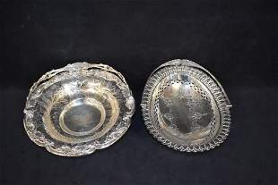 2 VICTORIAN SILVER PLATED BASKETS