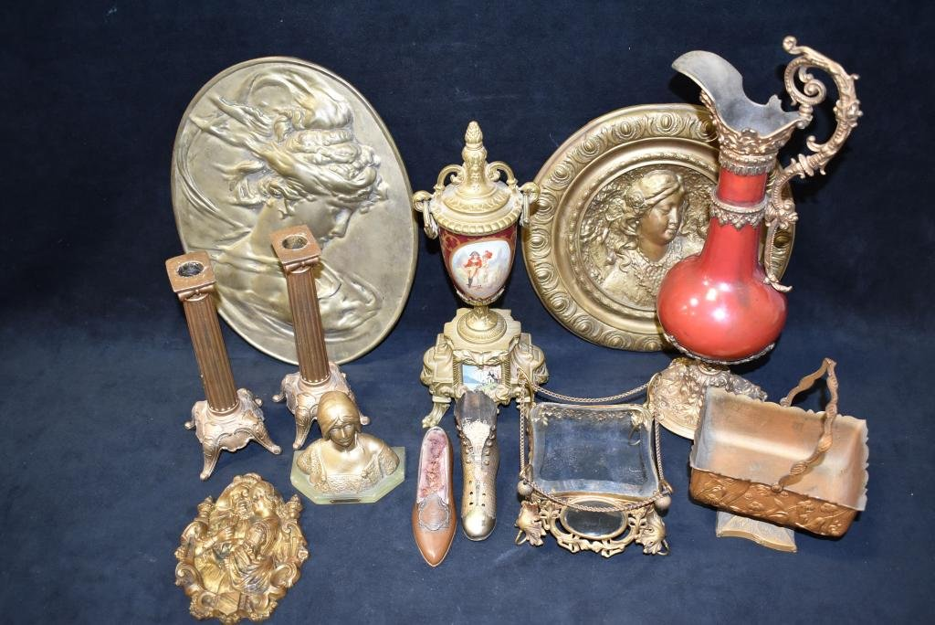 GROUPING OF VICTORIAN METAL TABLE ITEMS