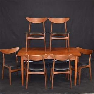 DANISH MODERN TEAK DINING TABLE W/ 6 CHAIRS