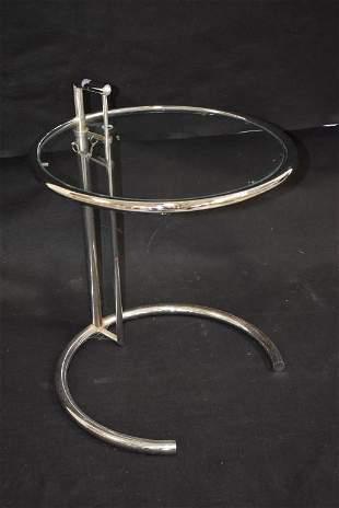 MID CENTURY CHROME & GLASS ADJUSTABLE SIDE TABLE