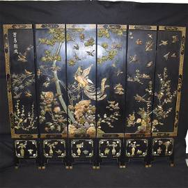 LRG. 6 PANEL CHINESE LACQUERED SCREEN W/ SOAPSTONE