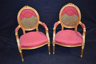 PR GOLD GILT FRENCH STYLE CANE BACK ARMCHAIRS