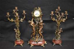 3 PC FRENCH BRONZE  MARBLE FIGURAL CLOCK SET