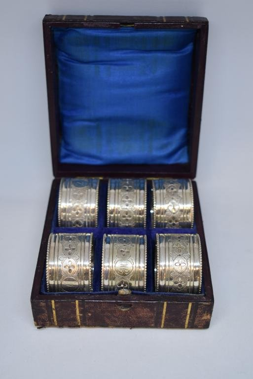 SET OF 6 VICTORIAN SILVERPLATE NAPKIN RINGS