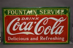 1933 DRINK COCA COLA FOUNTAIN SERVICE SSP SIGN
