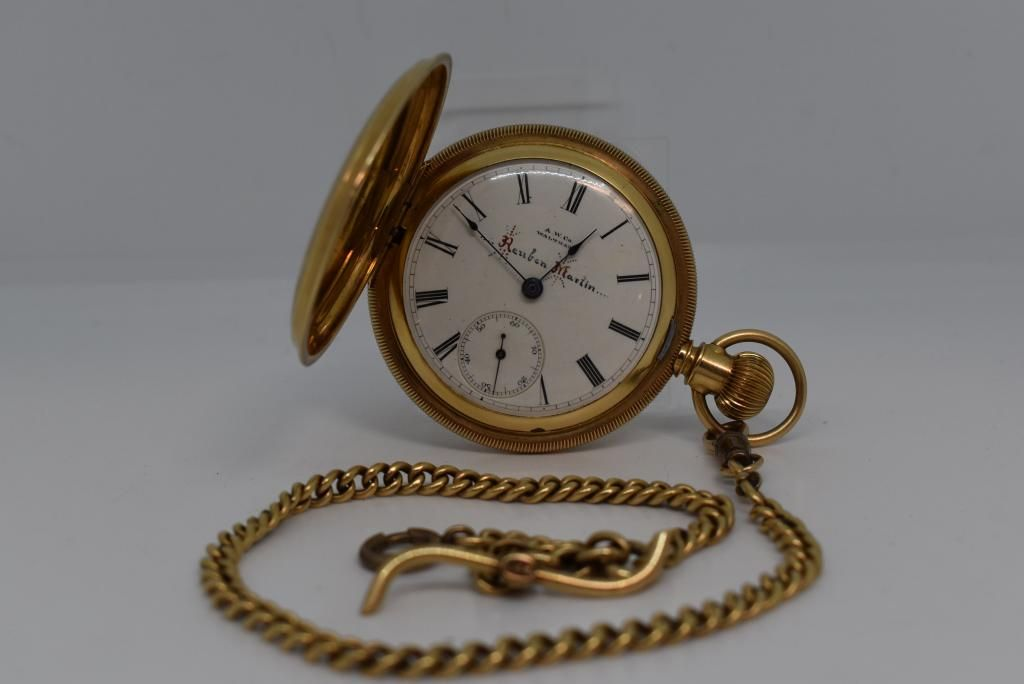 14KT GOLD WALTHAM POCKET WATCH W/ 14KT GOLD CHAIN
