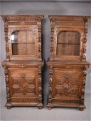 PR. HIGHLY CARVED 19TH CENTURY OAK BOOKCASES