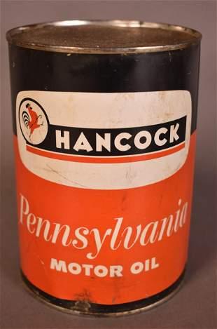 Hancock Pennsylvania Motor Oil Quart Can