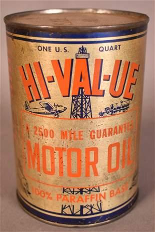 Hi-Val-Ue Motor Oil w/derrick logo Quart Can