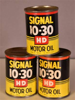 3-Signal 10-30 Oil Can Metal Coin Banks