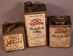Box lot of 3-Mobil Square Metal Can
