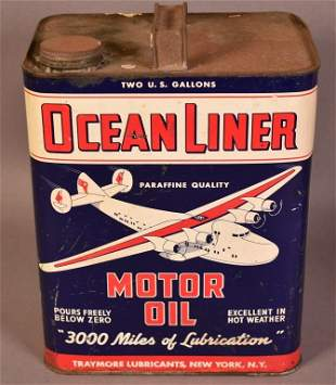 Ocean Liner Motor Oil w/Four Engine Plane Logo Two