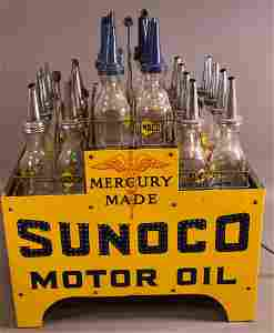 Sunoco Motor Oil Mercury Made 24 Bottle Lighted Display