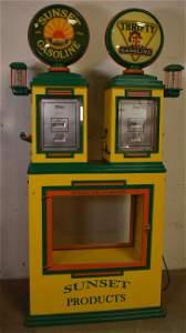 Twin Tokheim Model #34 Computing Gas Pumps Show Ca