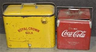 Royal Crown & Coca-Cola Metal Carrying Coolers