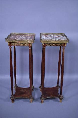 PR. 1920'S FRENCH MARBLE TOP PLANT STANDS