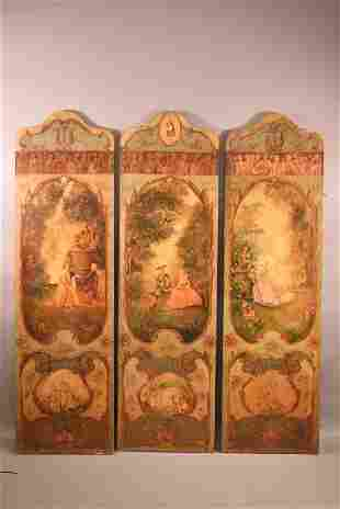 ANTIQUE FRENCH HAND PAINTED 3 PANEL SCREEN