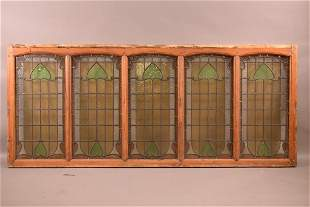 5 PANEL ARTS AND CRAFTS LEADED GLASS WINDOW
