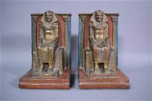 PR. 1920'S EGYPTIAN MOTIF BOOKENDS