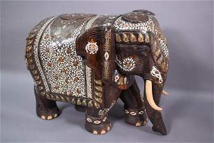 19TH C. ANGLO INDIAN INLAID ELEPHANT