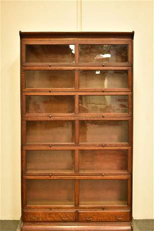 1900'S 6 DOUBLE STACK AM. OAK LAWYER'S BOOKCASE