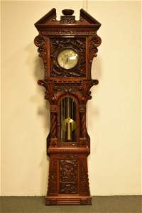 HIGHLY CARVED HERSCHEDE GRANDFATHER CLOCK