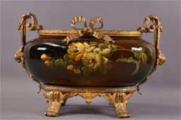 BRONZE MOUNTED FRENCH POTTERY CENTER BOWL