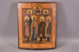 19TH C RUSSIAN ICON OF CHRIST AND FIGURES