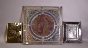 3 ANTIQUE RELIGIOUS LEADED GLASS WINDOWS