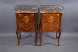 PR. 1920'S INLAID FRENCH MARBLE TOP NIGHTSTANDS