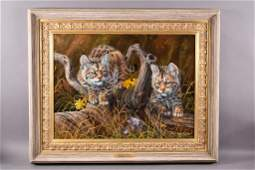 """OIL ON CANVAS """"BOBSY CAT TWINS""""  BY GARY SWANSON"""