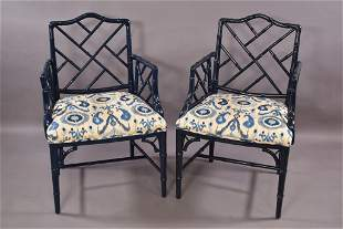 PR. FAUX BAMBOO ARM CHAIRS