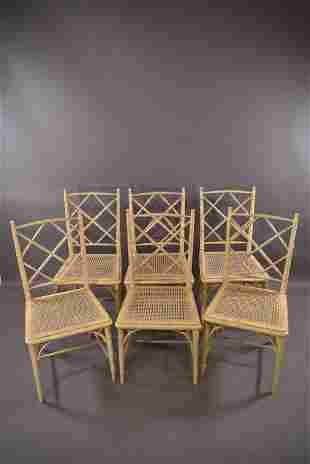 SET OF 6 FAUX BAMBOO CHAIRS