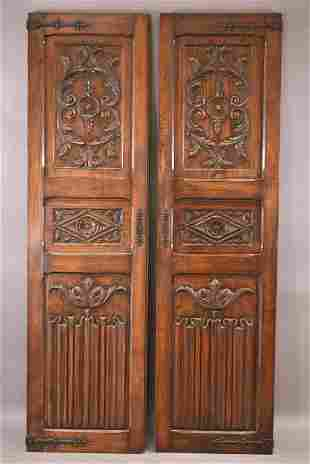 PR. OF FRENCH CARVED PANELS WITH IRON STRAPPING