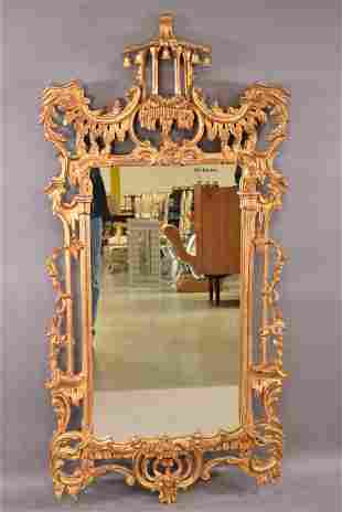 GOLD GILT JESSO ON WOOD ASIAN MOTIF WALL MIRROR
